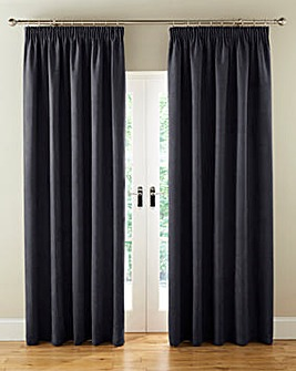 Faux Suede Pencil Pleat Blackout Lined Curtains