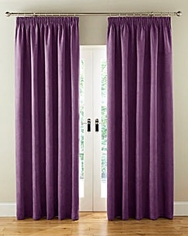 Faux Suede Long Length Pencil Pleat Blackout Lined Curtains