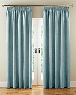 Faux Suede Long Length Pencil Pleat Blackout Lined Curtains