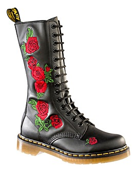 Dr Martens 1914 Vonda Embroidered Rose Mid Calf Boots Standard D Fit