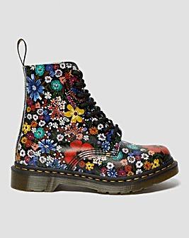 Dr Martens 1460 Pascal Floral Print Leather Ankle Boots Standard D Fit