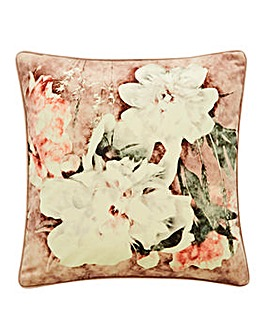 Blush Floral Velvet Cushion