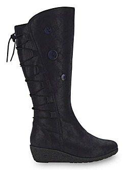 Joe Browns Wedge Flower Knee High Boots Standard Calf Wide E Fit