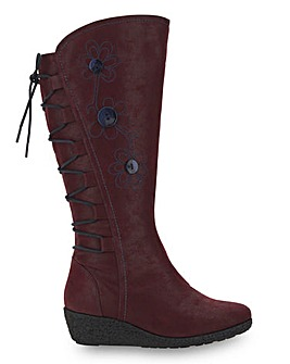 Joe Browns Wedge Flower Knee High Boots Super Curvy Calf Wide E Fit