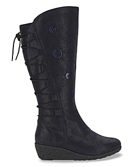 Joe Browns Wedge Flower Knee High Boots Super Curvy Calf Extra Wide EEE Fit