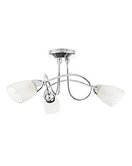 Cygnus Chrome Glass Ceiling Light