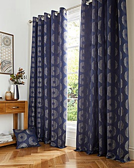 Cosmos Metallic Jacquard Lined Eyelet Curtains