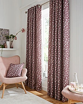Leaf Trail Jaquard Metallic Lined Eyelet Curtains