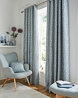 Leaf Trail Jaquard Lined Eyelet Curtains