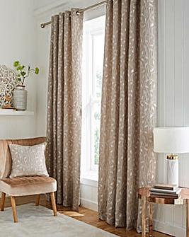 Leaf Trail Jaquard Metallic Lined Eyelet Curtains