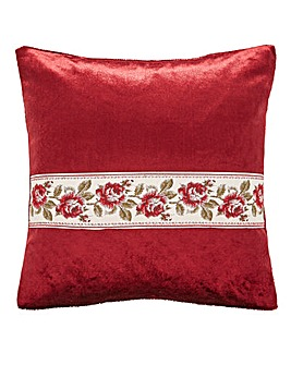 Rose Trim Velvet Filled Cushion