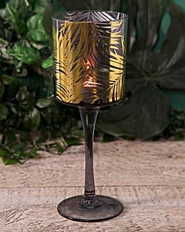 Gold Palm Leaf Tealight Holder 25cm