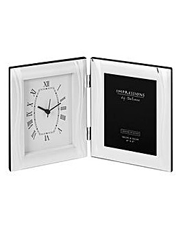 Satin Silverplated Photo Frame & Clock
