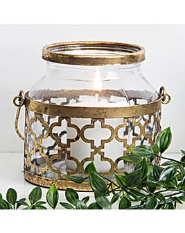 Hestia Metal Glass Jar Lantern