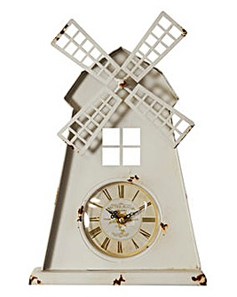 Windmill Metal Mantel Clock