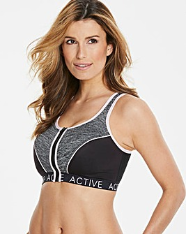 Naturally Close Grey/Black/Pink Zip Front Active Wear High Impact Sports Bra