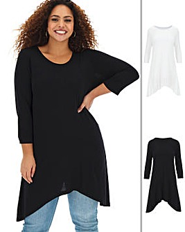Pack of 2 Long Sleeve 2 Hanky Hem Tunics