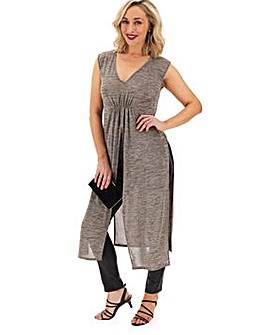 Stone Sleeveless Maxi Tunic