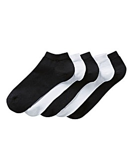 5 Pack Blk/Wht Value Trainer Liner Socks