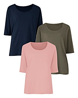 Navy/Khaki/Pink Pack Of 3 Short Sleeve T-Shirts