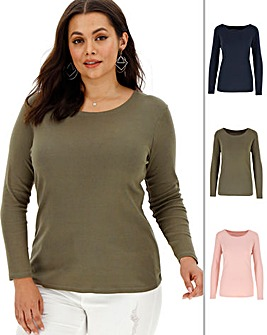 3 Pack Navy/Pink/Khaki Long Sleeve Tops