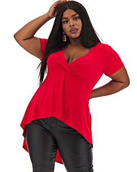Red Dip Back Wrap Front Top