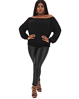 Black Bardot Shirred Waist Top