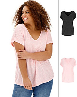 2 Pack V Neck Slouch T Shirts