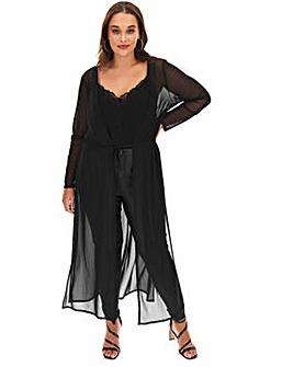 Black Glitter Mesh Kimono