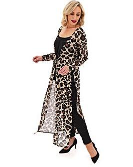 Leopard Print Mesh Kimono