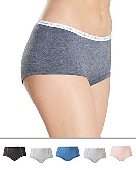 Pretty Secrets 5 Pack Banded Cotton Rich Marl Shorts