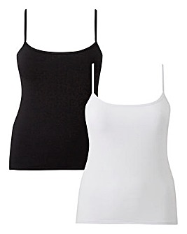 Naturally Close 2 Pack Cotton Rich White/Black Secret Support Cotton Vest