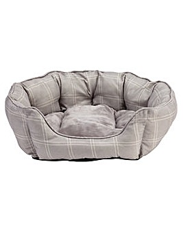 Country Check Oval Pet Bed - Medium