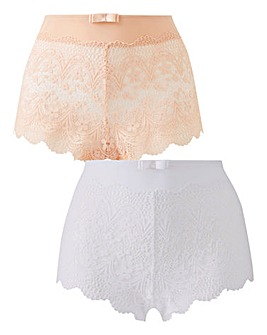 2 Pack Lottie Lace Blush/White Briefs
