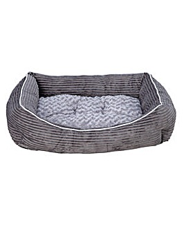 Grey Cord Square Pet Bed - Large