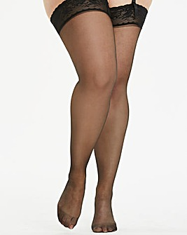 2 Pack Blk 15 Denier Lace Top Stockings