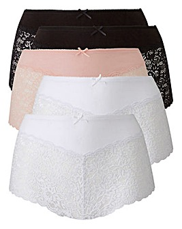 5Pk Lace Black/White/Blush Midi Shorts