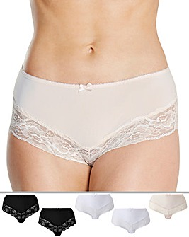 Naturally Close 5 Pack Black/White/Blush Midi Briefs