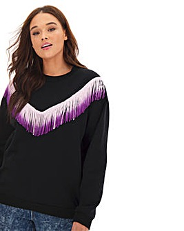 Ombre Fringe Detail Sweatshirt