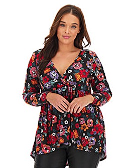 Floral Long Sleeve Wrap Swing Tunic