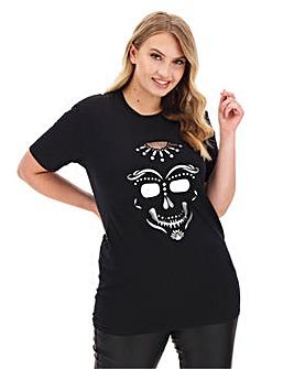 Skull Foil Print Halloween T Shirt