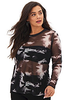 Black Tie Dye Mesh Long Sleeve Top