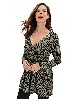 Animal Long Sleeve Wrap Swing Tunic