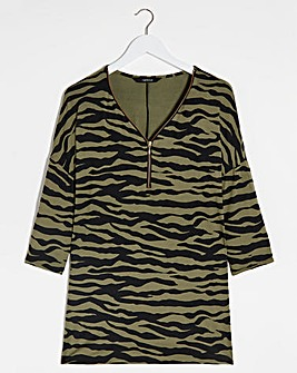 Khaki Animal 3/4 Sleeve Zip Front Tunic