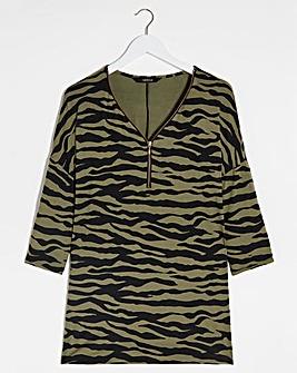 Khaki Animal 3/4 Sleeve Zip Front Tunic