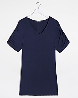 Navy Print Tuck Side Tunic