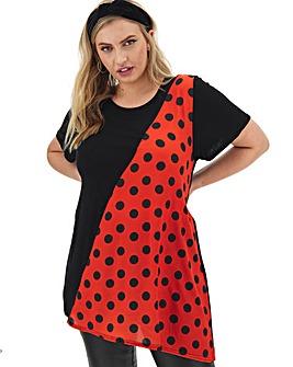 Red Spot Woven Diagonal Panel Tunic