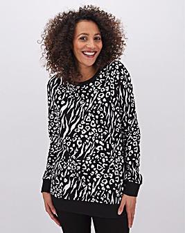 Animal Print Placement Sweatshirt