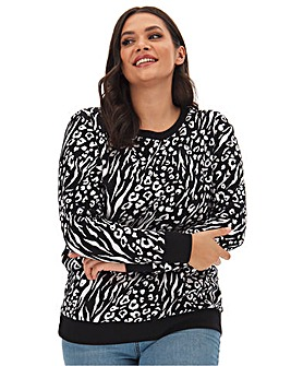 Animal Print Placement Sweatshirt