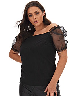 Black Rib Organza Sleeve Top